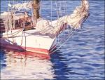 Skipjack Reflections: original watercolor of fishing boat by Geraldine McKeown
