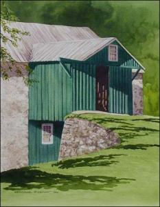 Bank Barn at the Nature Center watercolor painting by Geraldine McKeown