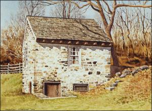 Chadds Ford Springhouse: original watercolor painting by Geraldine McKeown