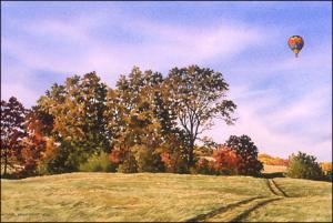 Ballooning at Fair Hill: original watercolor painting by Geraldine McKeown